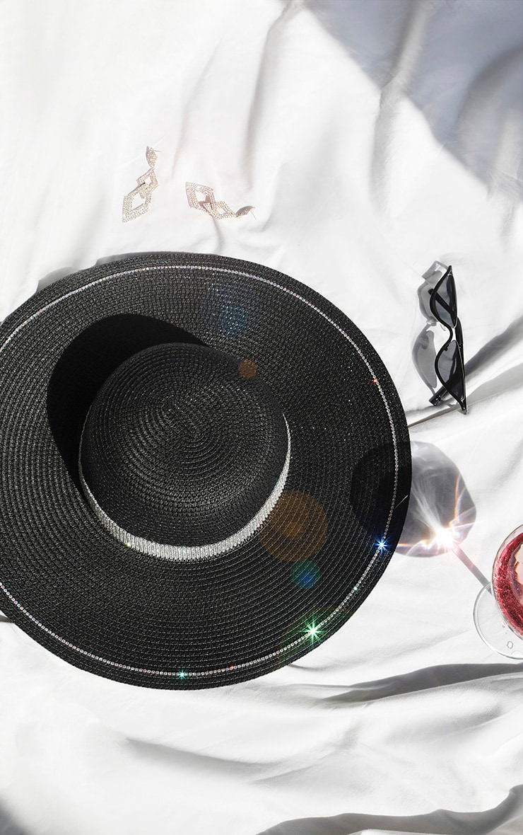 Black Straw Glitter Band Boater Hat 1