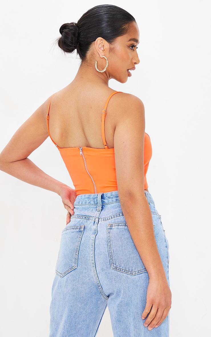 Petite Orange Corset Seam Detail Strappy Crop Top 2