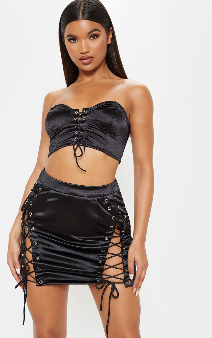 Black Satin Lace Up Detail Mini Skirt 1