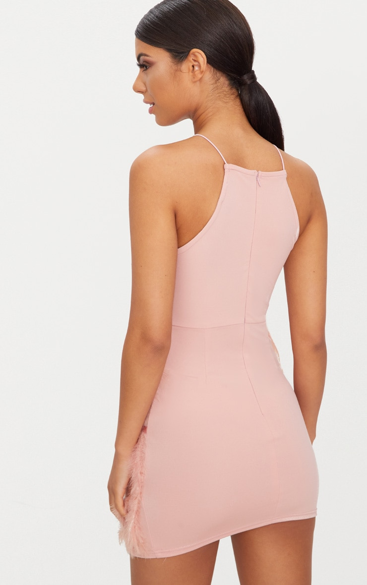 Size stores feather bodycon dress pink dusty skirt