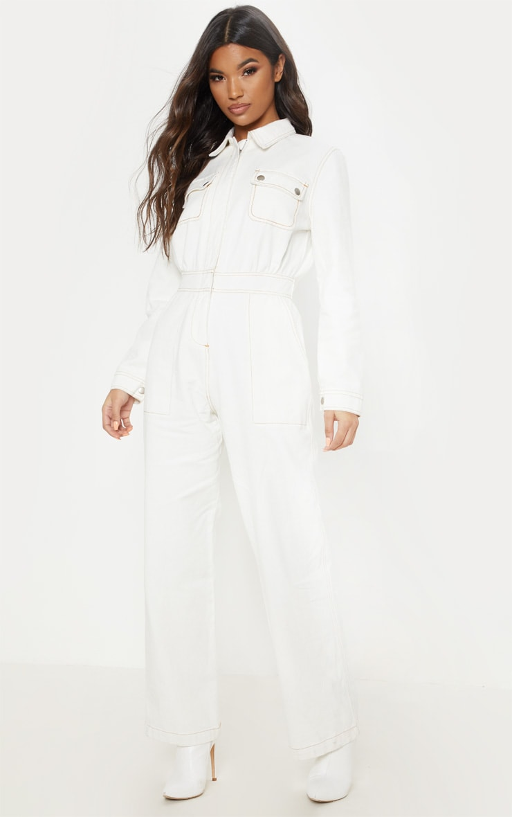 Ecru Denim Boilersuit image 4