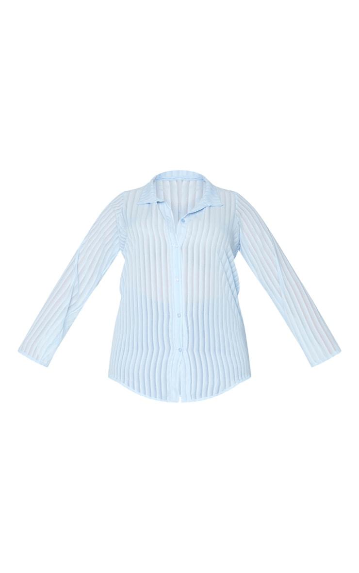 Plus Dusty Blue Striped Chiffon Oversized Shirt 5