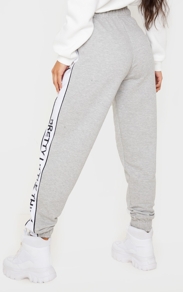 PRETTYLITTLETHING Grey Side Stripe Jogger 4