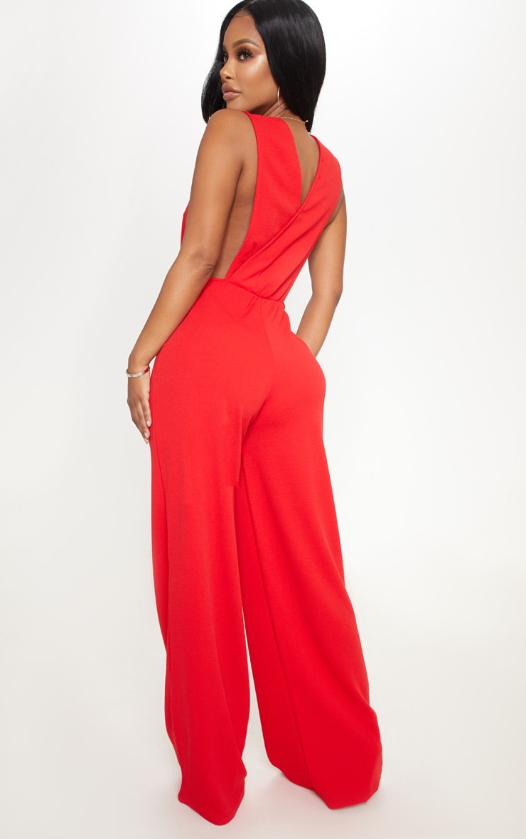 Shape Red Side Boob Wide Leg Jumpsuit 2