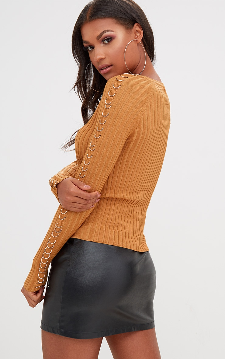 Yellow Ring Detail Ribbed Jumper 2