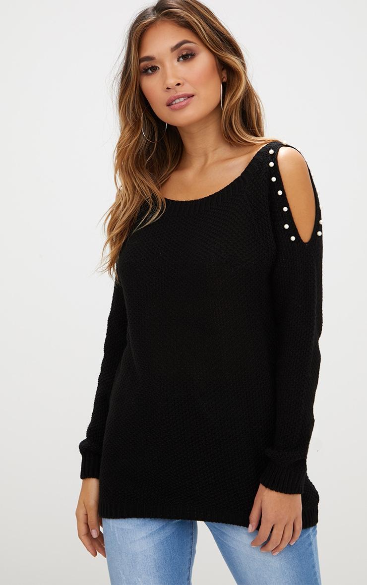 Black Pearl Trim Cold Shoulder Knitted Jumper 1