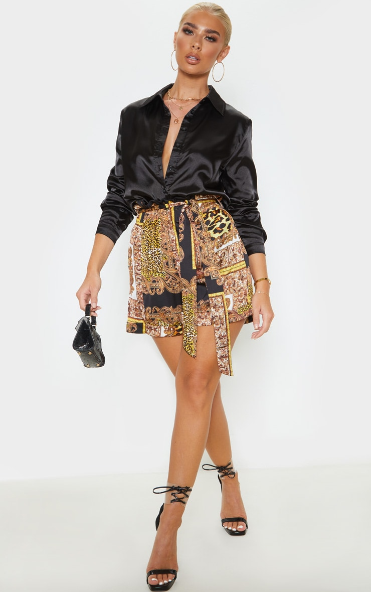 Mixed Chain Print Satin Shorts 5