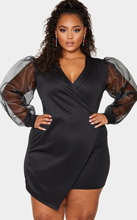 Plus Black Organza Sleeve Wrap Dress 1