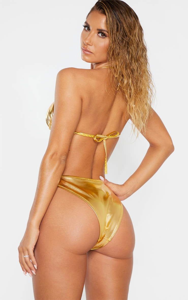 Gold Metallic Bikini Top 2