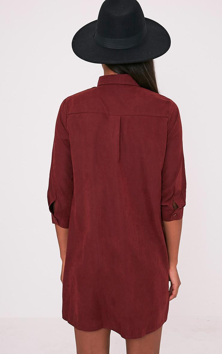 Leni Burgundy Shirt Dress 3