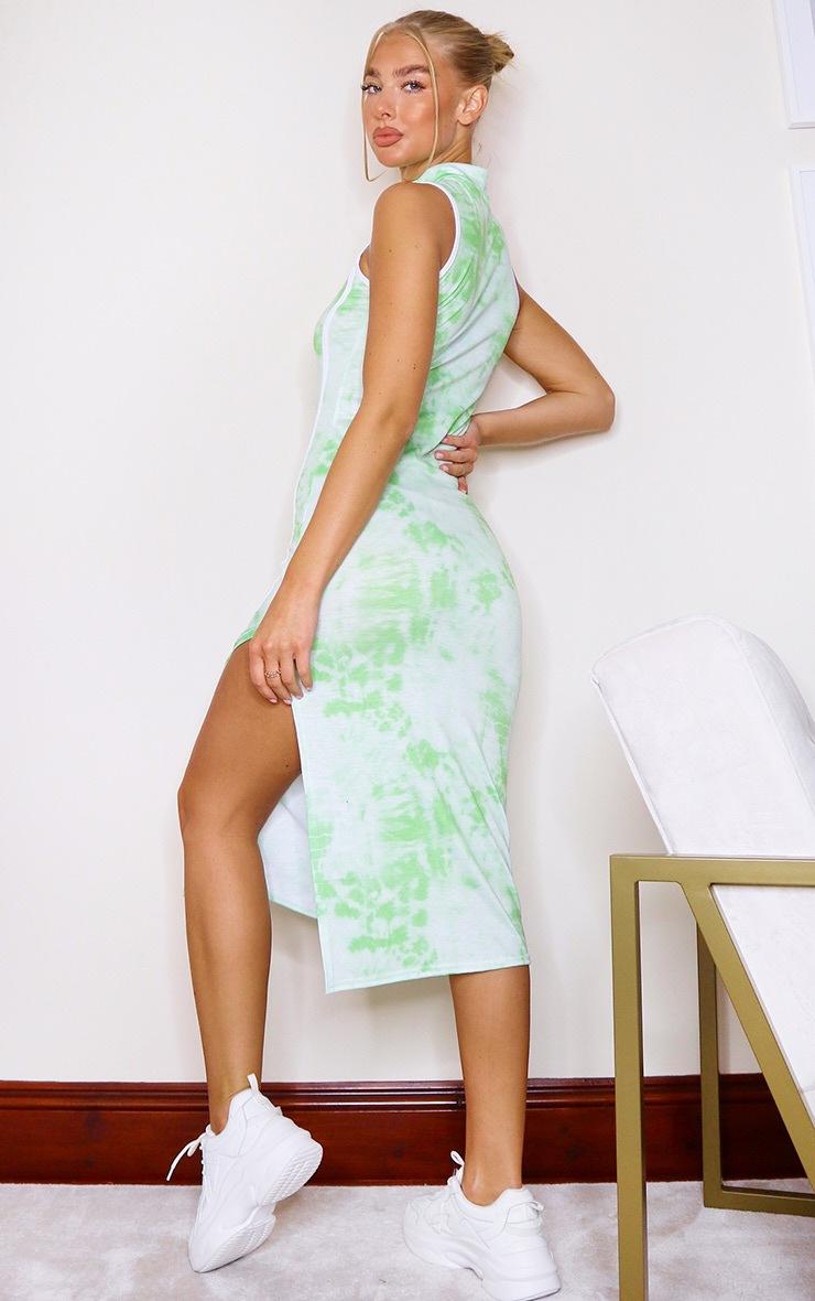 Lime Tie Dye Zip Binding Detail Sleeveless Midi Dress 2