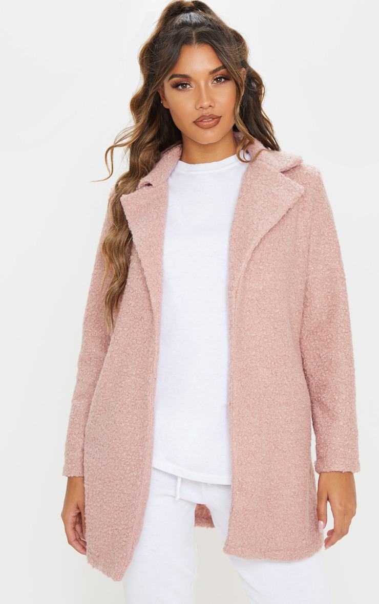 Dusty Pink Textured Oversized Coat 1