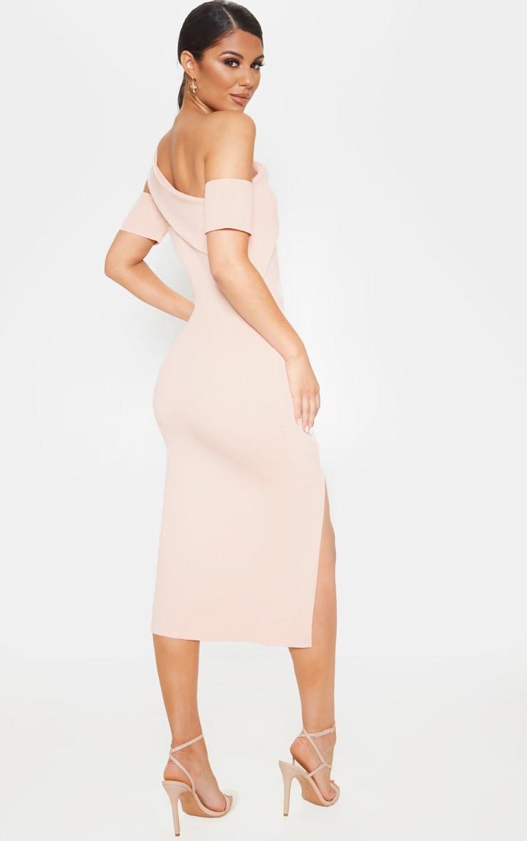 Nude Bardot Drape Detail Split Midi Dress 2