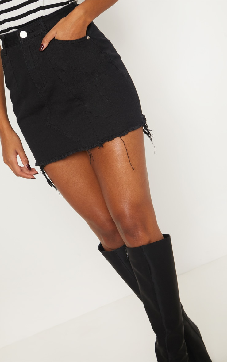 Black Basic Denim Skirt  6