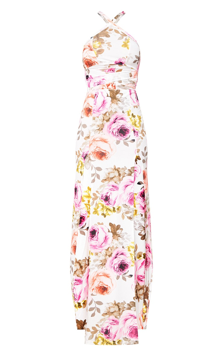 White Floral Cut Out Waist Maxi Dress  3