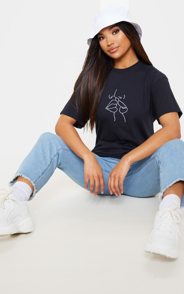 Black Abstract Faces Print Oversized T Shirt 4
