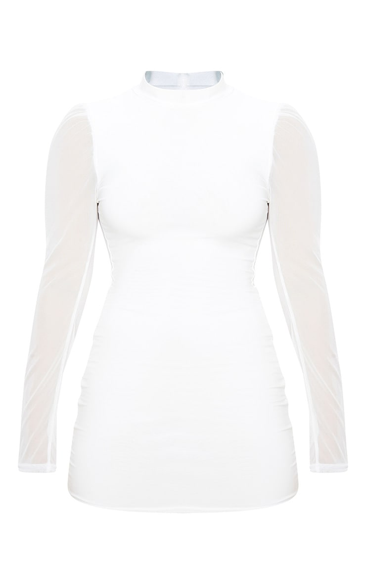 Petite Cream Organza Sleeve Slinky Mini Dress 3