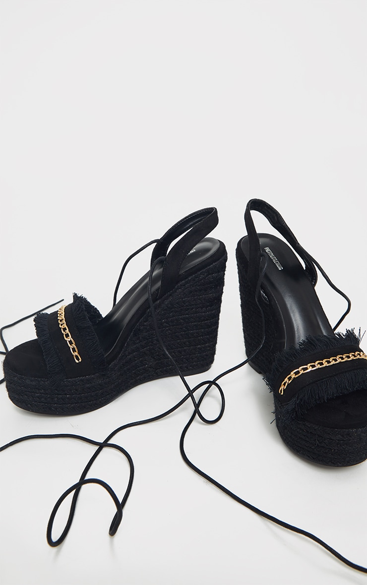Black Fringe And Chain Detail Wedge 3