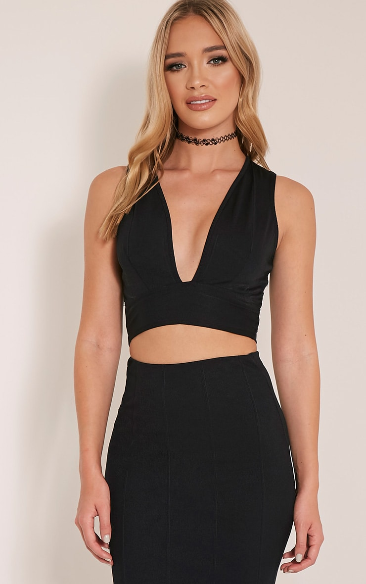 Cecelia Black Deep Plunge Bandage Crop Top 1