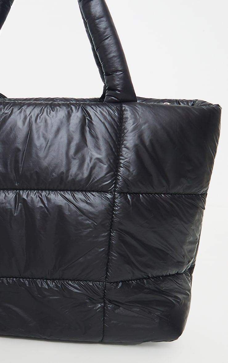 PRETTYLITTLETHING Black Swirl Logo Quilted Oversized Tote Bag 3