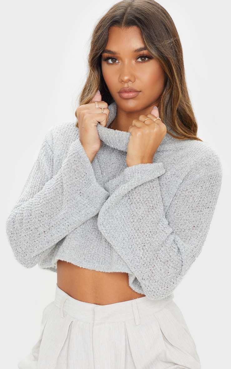 Light Grey Boucle Crop Knitted Roll Neck Jumper 5