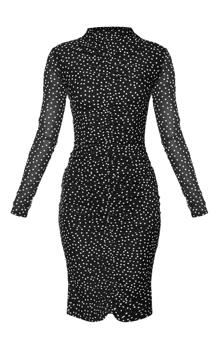 Black Polka Dot Print Ruched Mesh Midi Dress 5