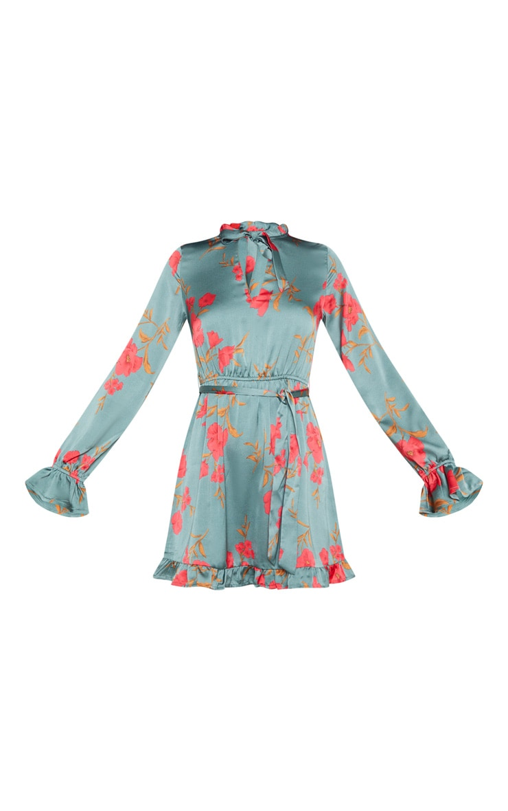 Teal Floral Print Tie Neck Frill Shift Dress 3