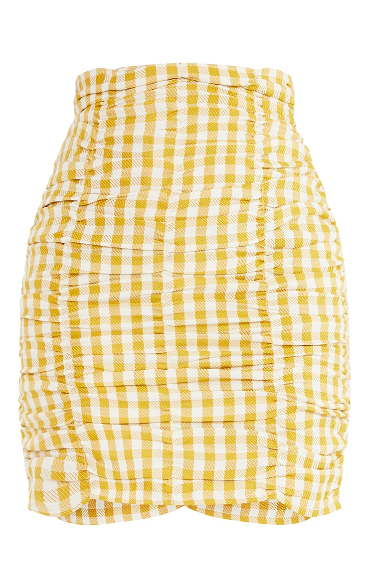 Petite Yellow Gingham Ruched Bodycon Skirt 6