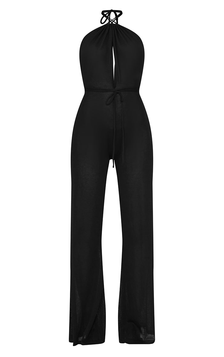Black  Sheer Knit Halter Neck Tie Waist Jumpsuit 5