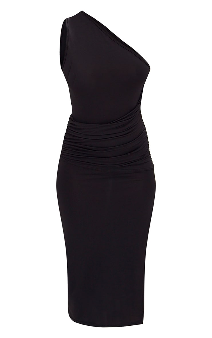 Black One Shoulder Ruched Detail Slinky Midi Dress 3