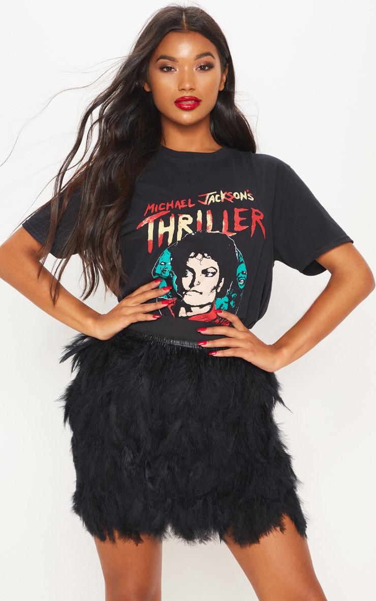 Black Printed Thriller Oversized T Shirt 1