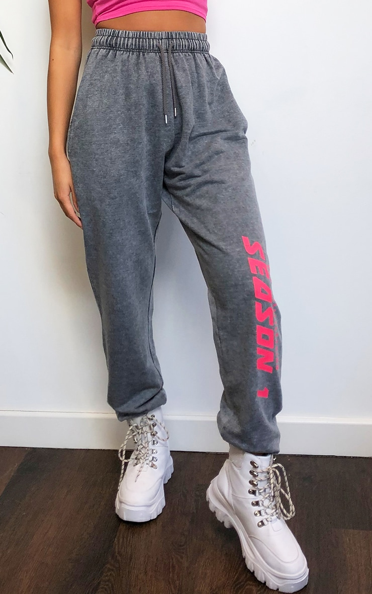 PRETTYLITTLETHING Charcoal Season Printed Joggers 2