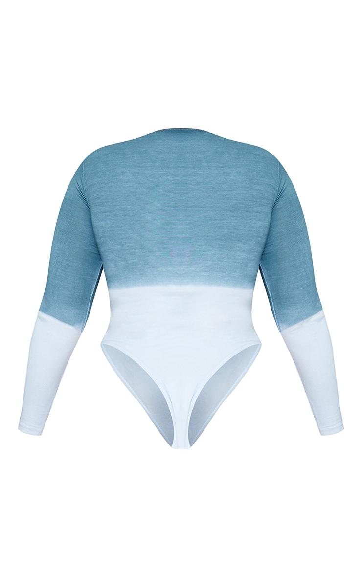 Plus Blue Ombre Cotton Long Sleeve Bodysuit 6
