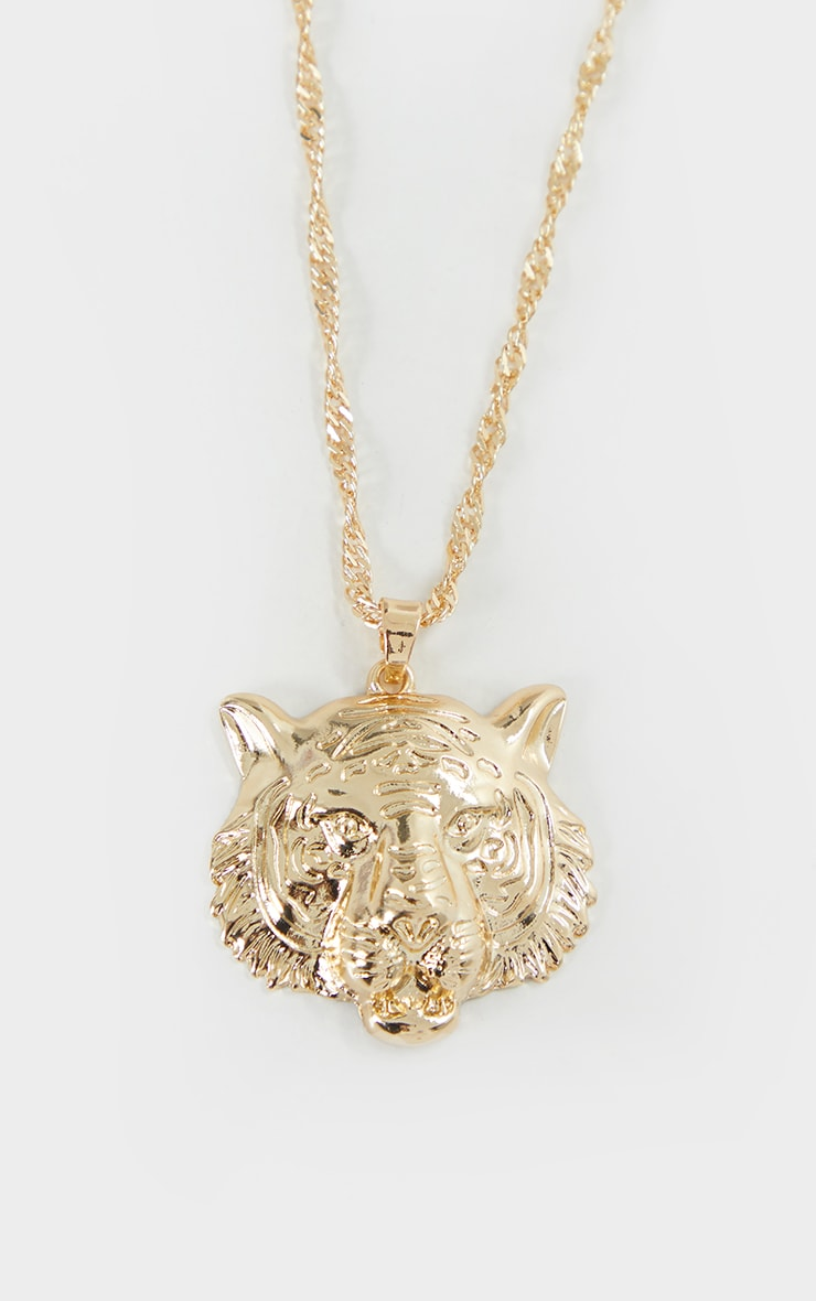 Gold Lion Head Necklace 3