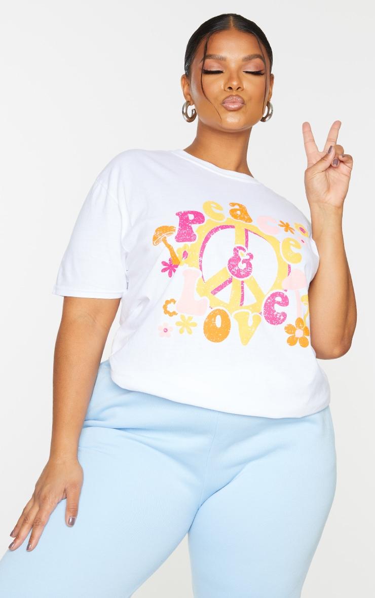 Plus White Peace T Shirt 3