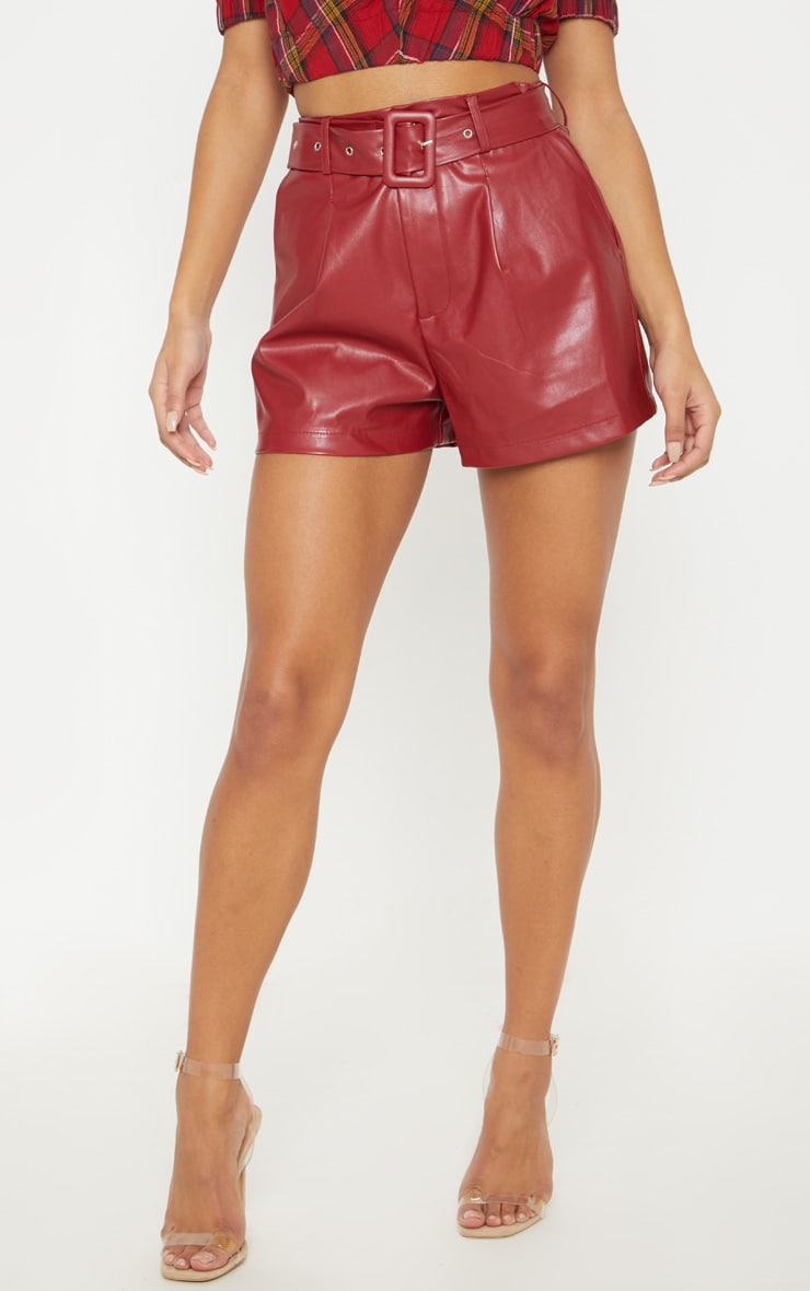 Burgundy Faux Leather Belted Short 2