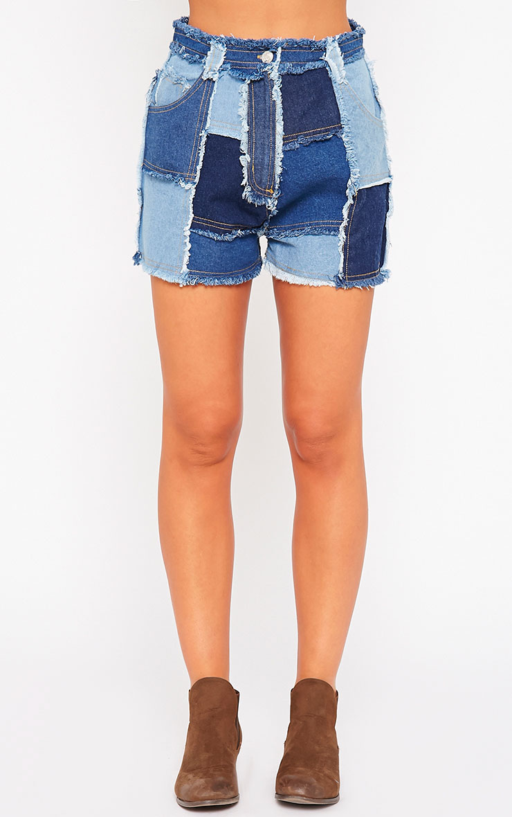 Maliya Patchwork Denim Shorts 2