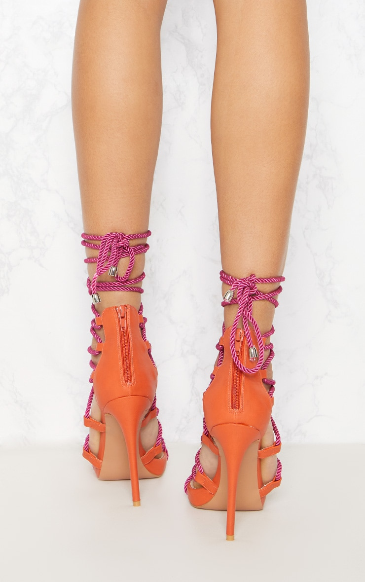 Pink Ghillie Tassel Rope Strappy Sandal 4