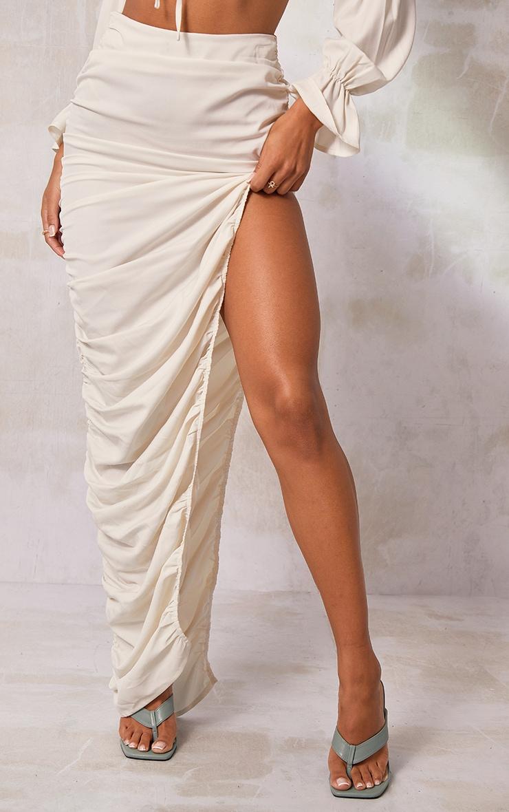 Cream Woven Ruched Side Detail Split Leg Midaxi Skirt 2