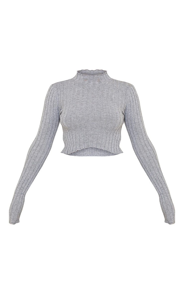Grey Wide Rib Knitted Long Sleeve Crop Sweater 5
