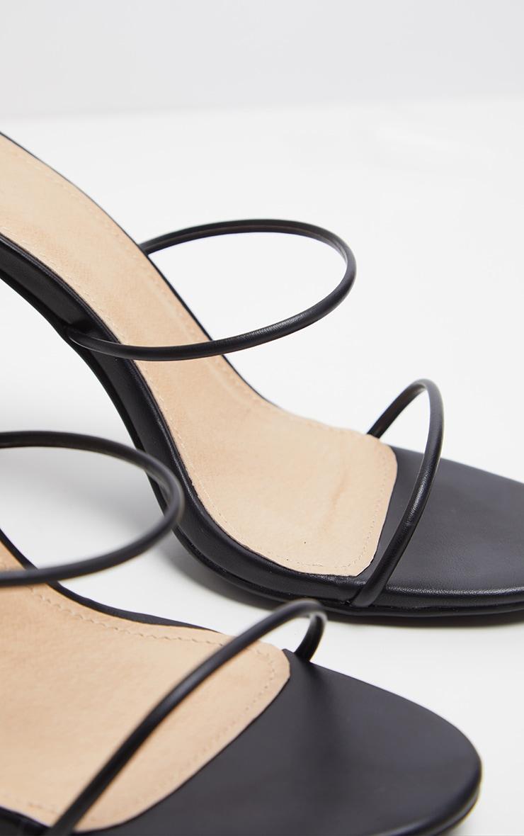 Black Delicate Strap Block Heel Ankle Tie Sandal 4