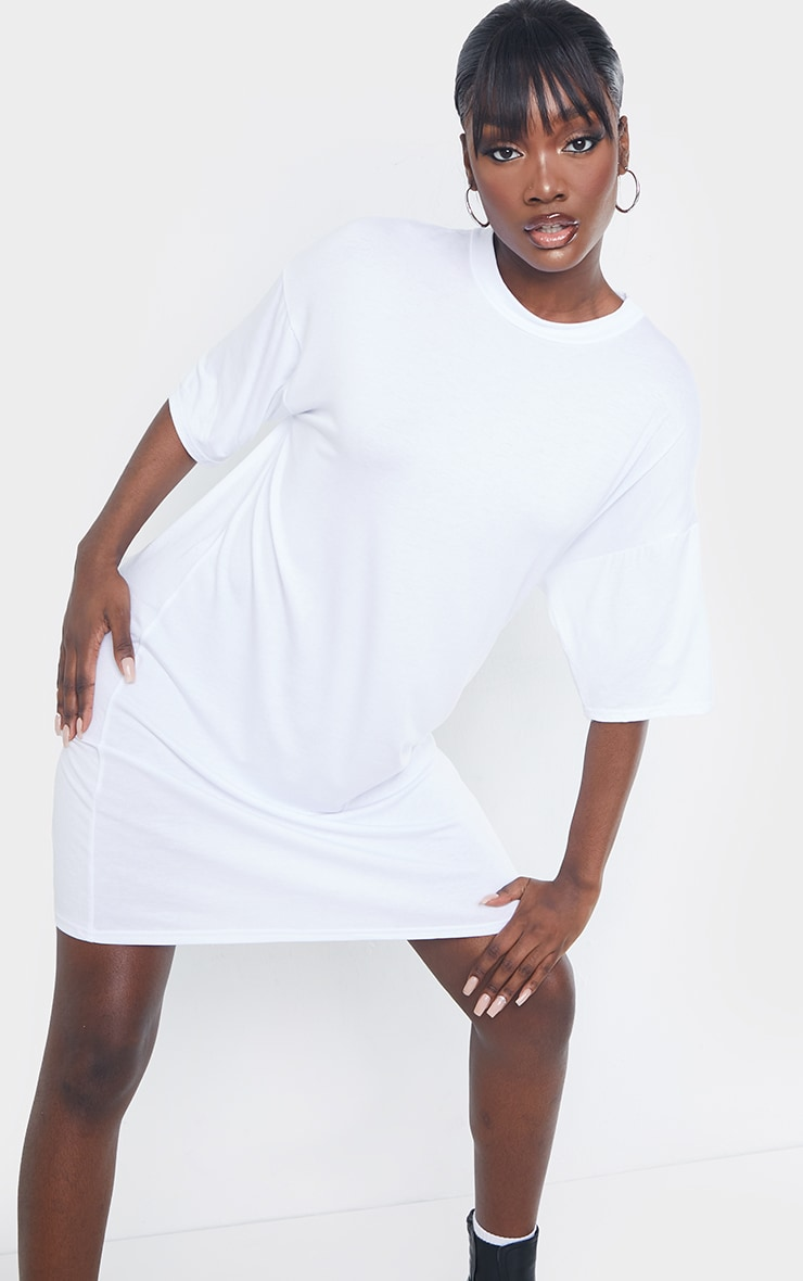 Tall White Oversized T-Shirt Dress 4