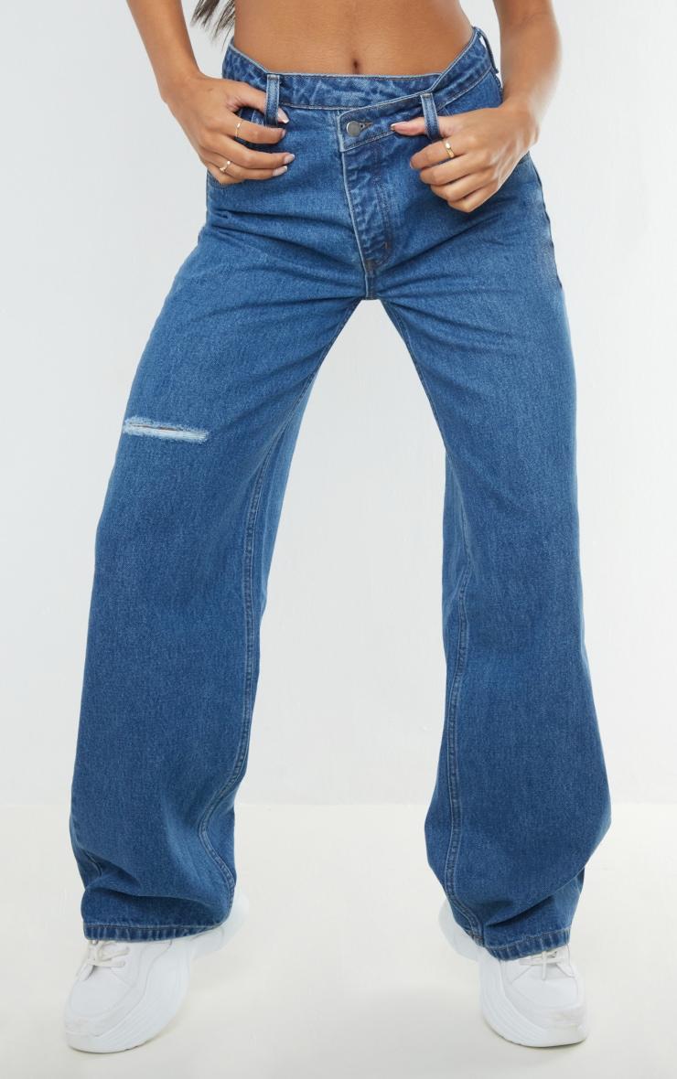Mid Blue Wash Asymmetric Waist Wide Leg Jeans 2