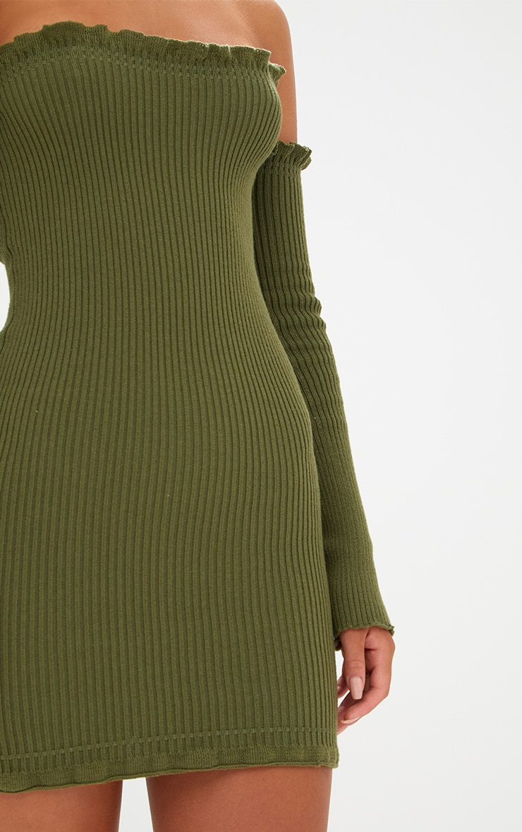 Khaki Ruffle Detail Knit Bardot Long Sleeve Mini Dress 5