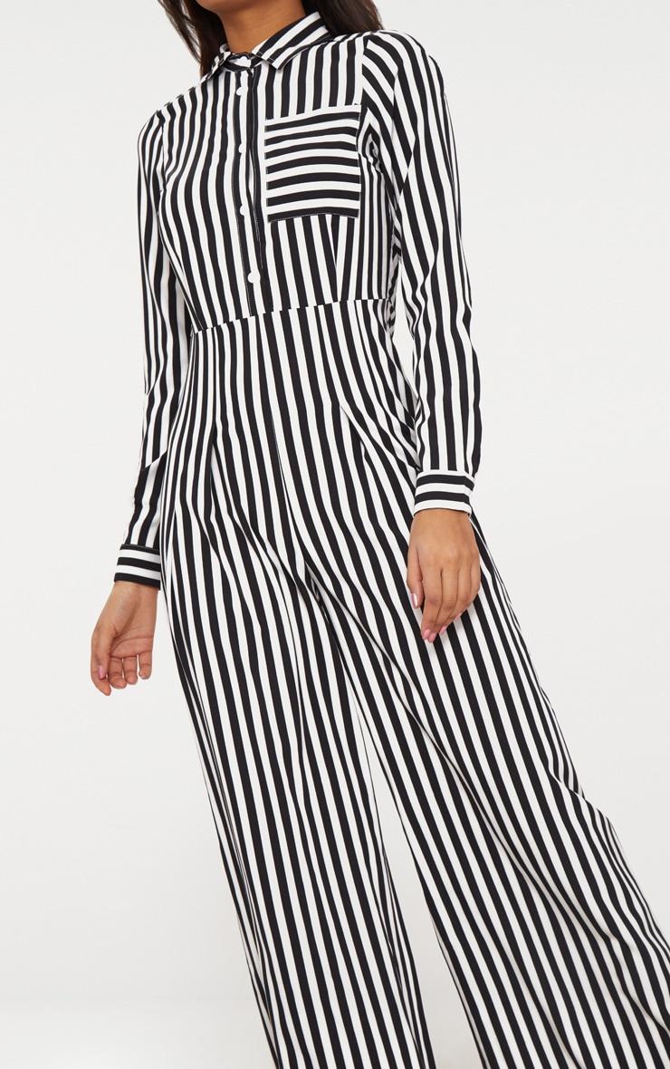 Black Button Striped Long Sleeve Through Jumpsuit 5