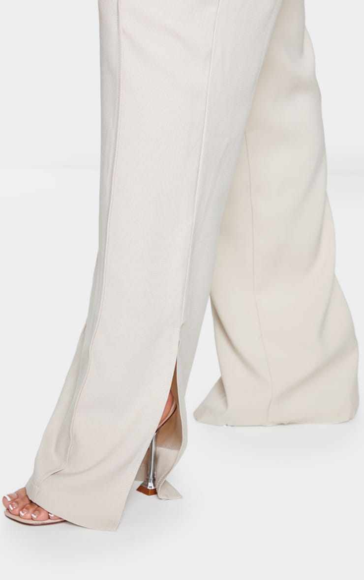 Beige Pintuck Detail Split Hem Woven Pants 4