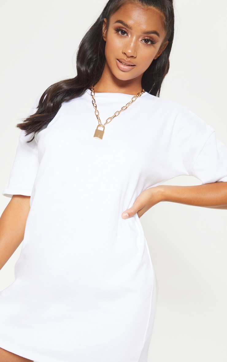 Petite White Oversized T Shirt Dress 5