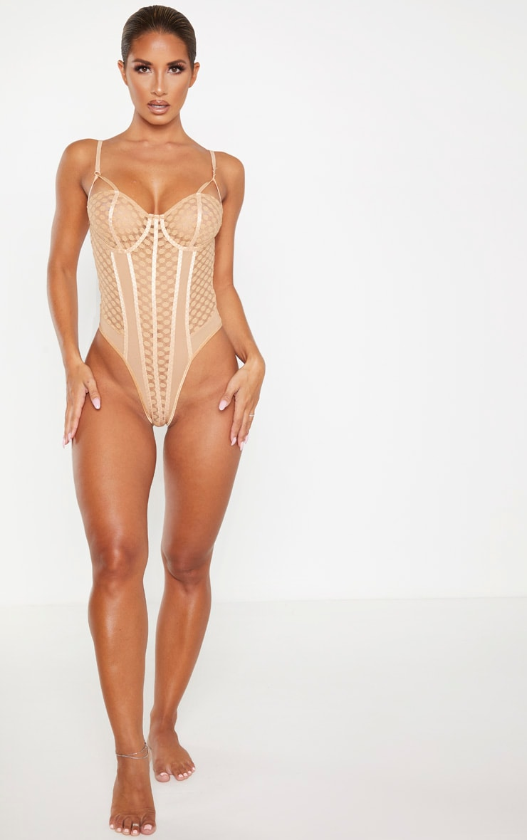 Nude Spot Lace Mesh Insert Body 5
