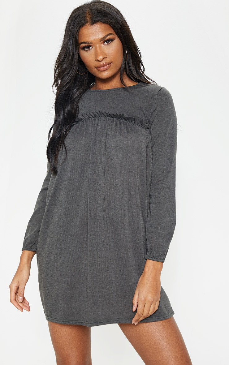 Charcoal Frill Long Sleeve Smock Dress 1