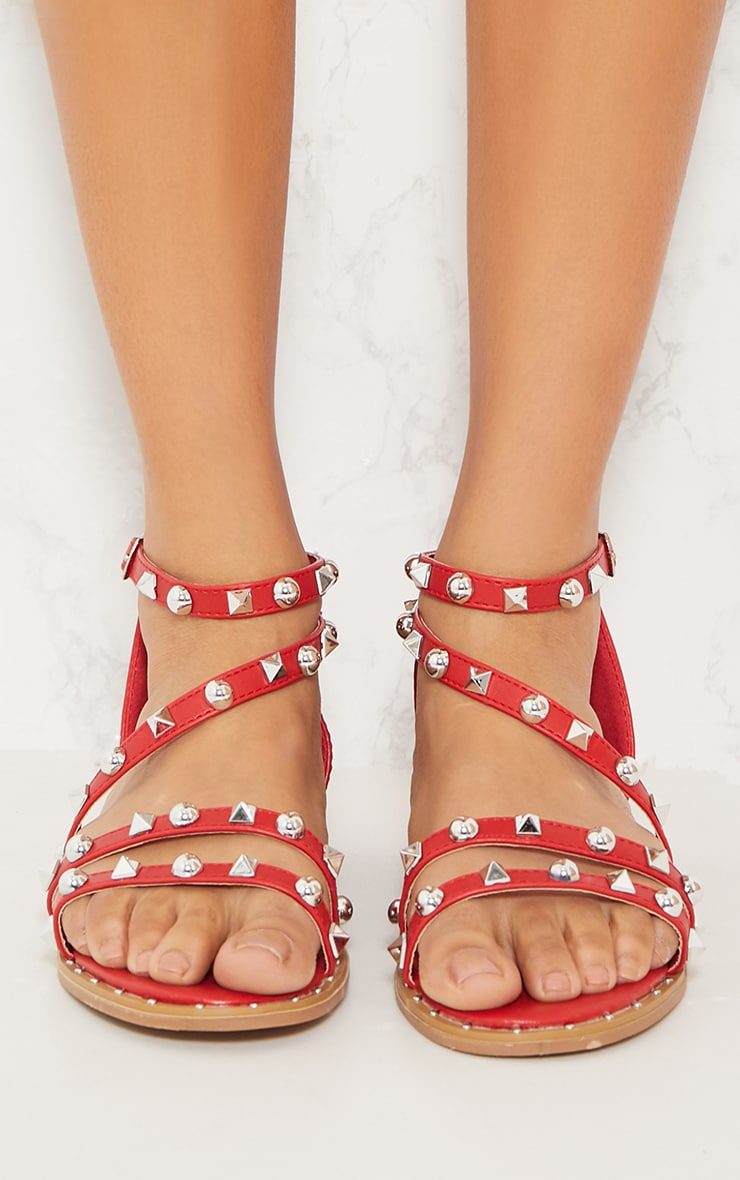 Red Studded Strappy Flat Sandals 5
